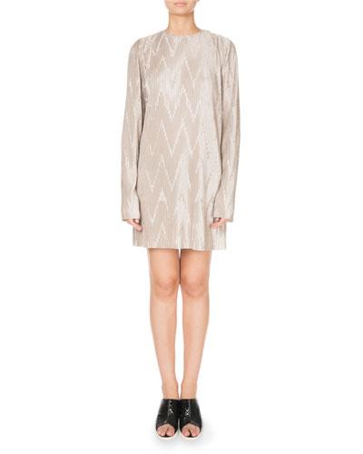 Long-Sleeve Zigzag Plisse Mini Dress