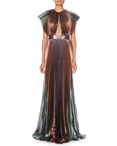 Metallic-Ombre Plisse Cutout Gown