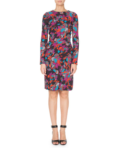 Long-Sleeve Ruched Waist Floral Print Dress