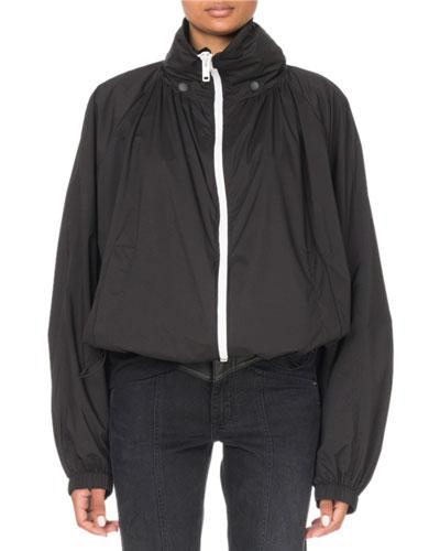 Zip-Front Hooded Wind-Resistant Jacket