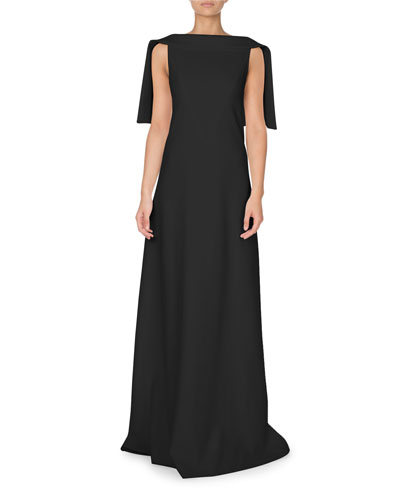 High-Neck Open-Back Capelet Gown