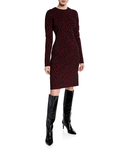 a939795b53 Long-Sleeve Leopard Jacquard Dress Quick Look. Givenchy