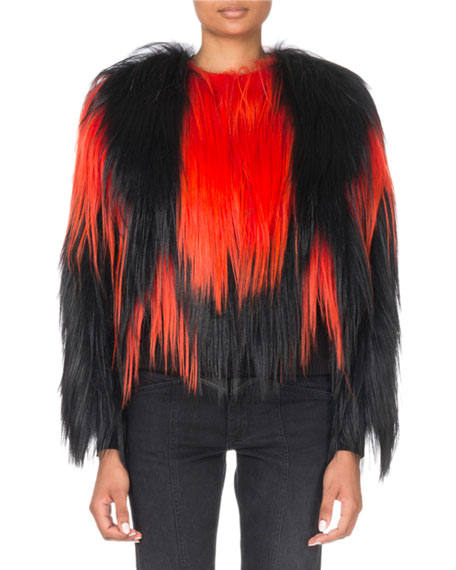 Shaggy Two-Tone Faux-Fur Jacket
