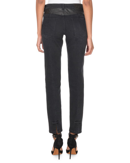 Leather Detail Skinny Ankle Pants
