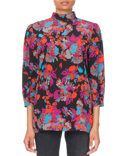 3/4-Sleeve Floral-Print Mock Neck Blouse