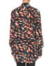 Abstract Print Silk Button-Front Blouse