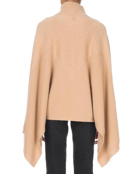 Cashmere Turtleneck Cape-Sleeve Sweater