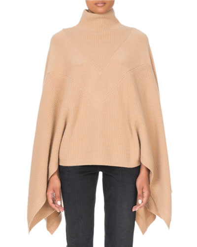 Cashmere Turtleneck Cape-Sleeve Sweater
