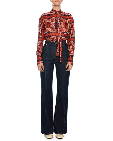 Bandana-Print Silk Button-Front Tie Neck Blouse