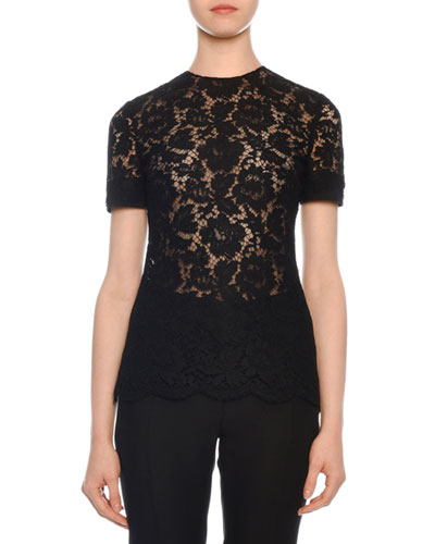 Short-Sleeve Heavy Lace Top