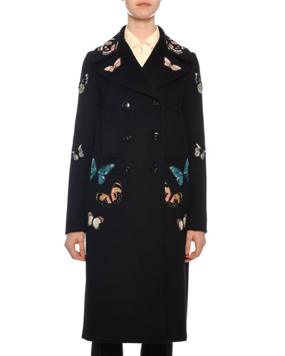 Camu Butterfly-Embroidered Wool Evening Coat
