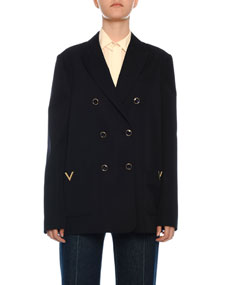 Double Breasted Wool Gabardine Blazer by Valentino