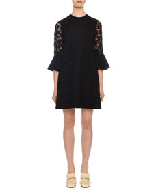 3/4 Sleeve Lace Trim Shift Dress by Valentino