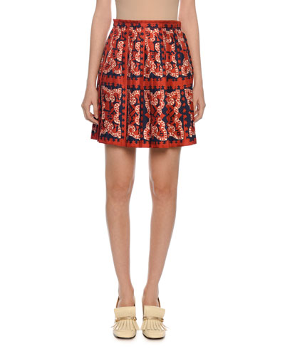 Pleated Bandana Print Mini Skirt