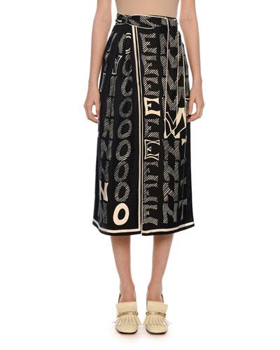 Logo-Print Silk Twill Skirt