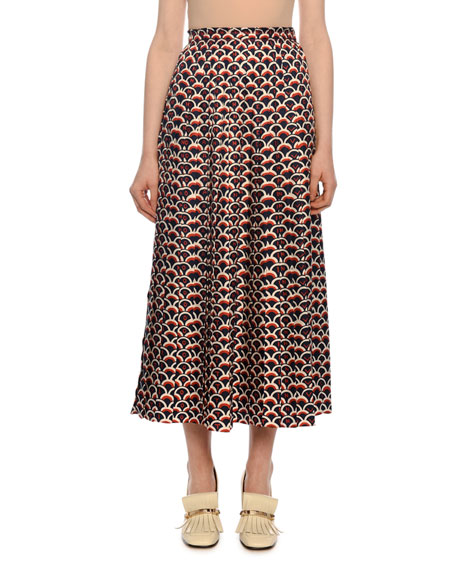 Logo-Scale Print Pleated Midi Skirt