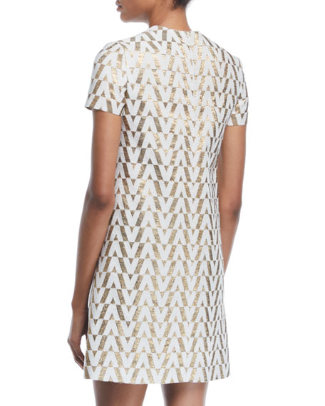Short-Sleeve V Metallic-Brocade Shift Dress