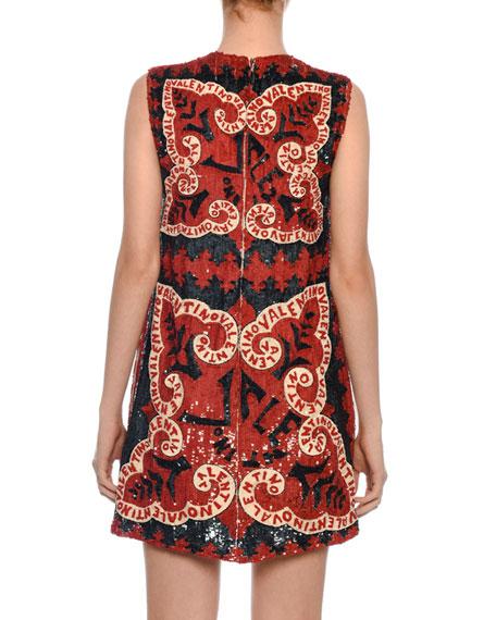 Sleeveless Sequined-Chiffon Bandana Dress