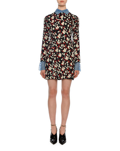 Embroidered Floral Dress with Removable Chiffon Trim