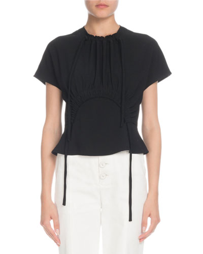 Tie-Neck Short-Sleeve Cropped Crepe Top