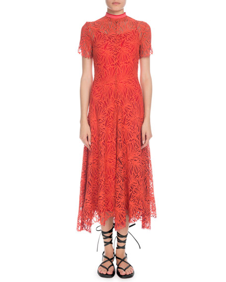 Mock-Neck Short-Sleeve A-Line Lace-Guipure Long Dress