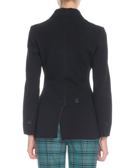 Double-Breasted Fold-over Panel Wool-Blend Blazer