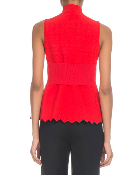 Mock-Neck Sleeveless Top w/ Zigzag Hem