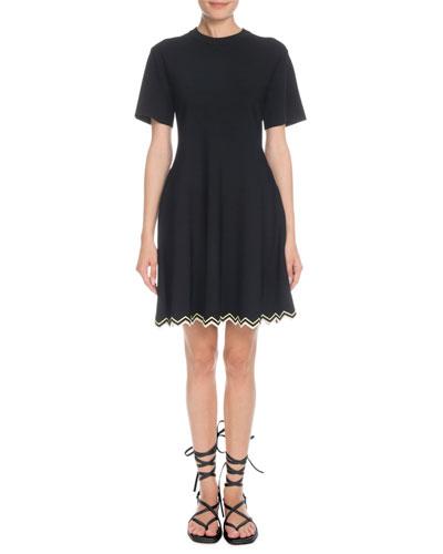 Crewneck Short-Sleeve Fit-and-Flare Dress w/ Zigzag Hem