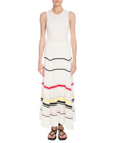 Crewneck Sleeveless Striped Fil Coupe Knit Long Dress