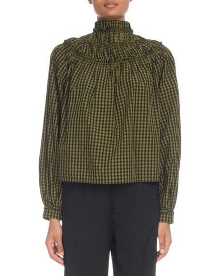 Proenza Schouler Mock-Neck Long-Sleeve Gingham Cotton Top
