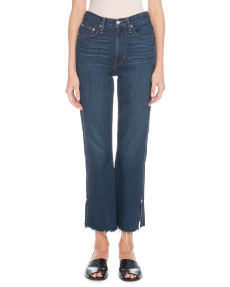 Proenza Schouler High-Rise Flare-Leg Cropped Jeans with Raw-Hem