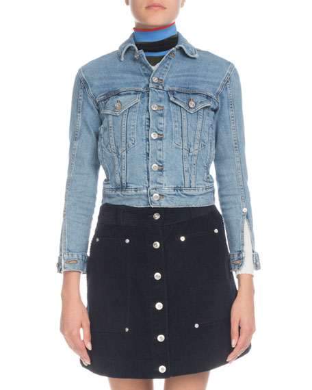 Proenza Schouler Button-Front Cropped Jean Jacket
