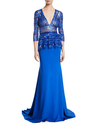 Plunging-V 3/4-Sleeve Beaded-Top Trumpet Evening Gown
