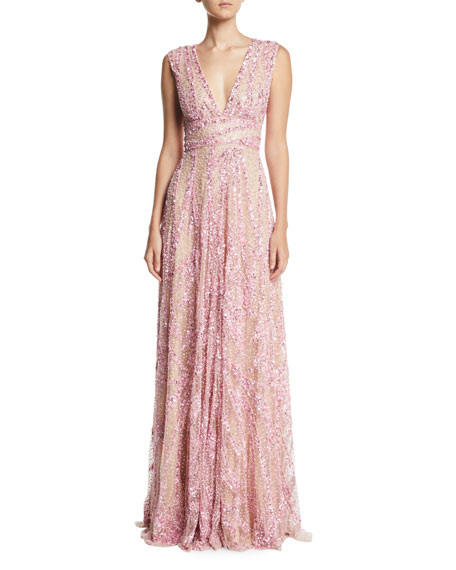 Plunging Sleeveless Sequined A-Line Evening Gown
