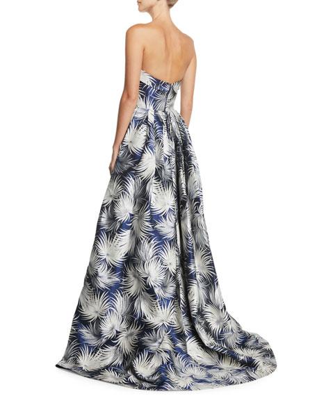 Strapless Chrysanthemum Floral-Print Column Evening Gown