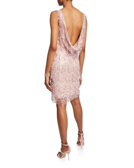 Beaded Open-Back Cocktail Dress