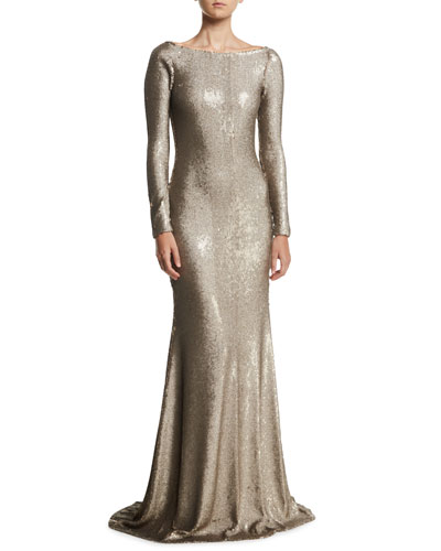 Cowl-Back Boat-Neck Long-Sleeve Fitted Sequin Evening Gown