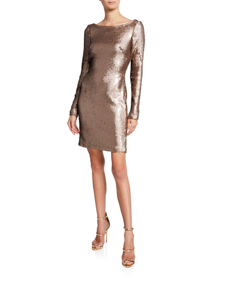 Image 1 of 1: Long-Sleeve Sequined Cocktail Dress