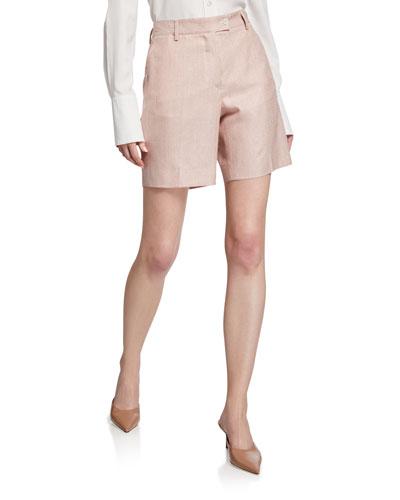 Pinstriped Linen Shorts