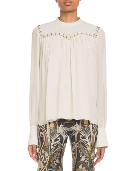 Chloe Embroidered Long-Sleeve Silk Top