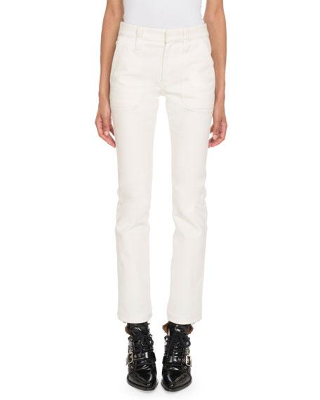 Mid-Rise Straight-Leg Cropped Denim Pants