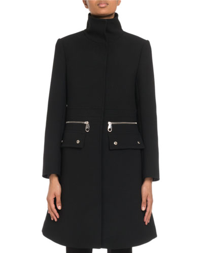 Stand-Collar Zip-Waist A-Line Wool Coat