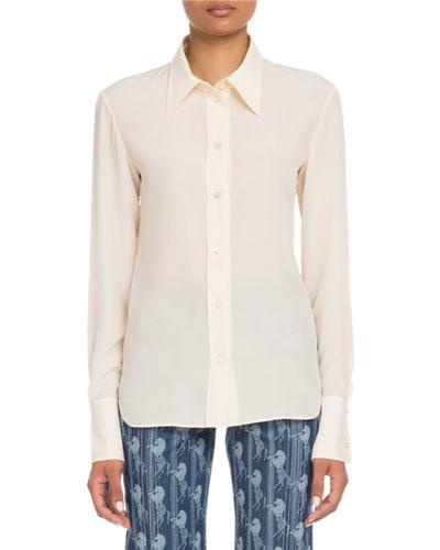 Button-Front Long-Sleeve Silk Crepe de Chine Blouse