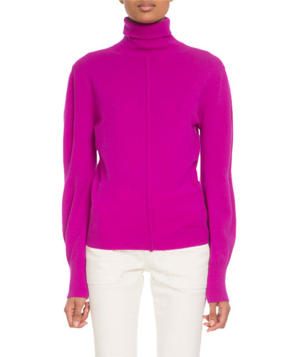 Turtleneck Full-Sleeve Cashmere Pullover Sweater