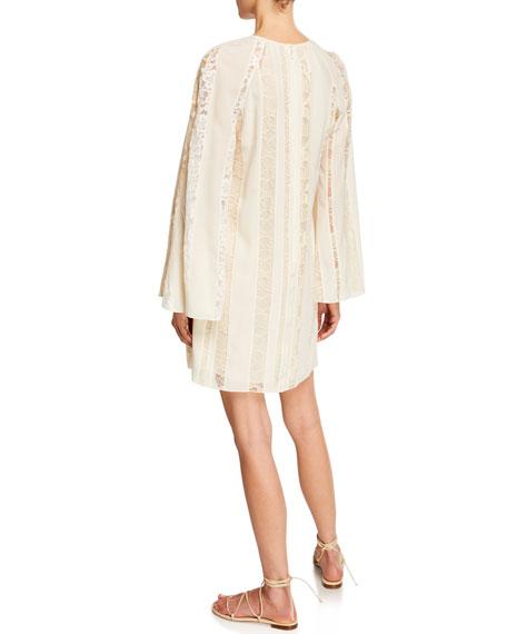 Long-Sleeve Lace-Inset Crepe de Chine Dress