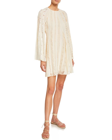 Chloe Long-Sleeve Lace-Inset Crepe de Chine Dress