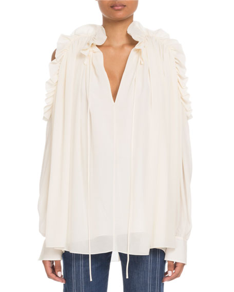 080c4ac21a720 Chloe Ruffled Open-Shoulder V-Neck Long-Sleeve Silk Blouse
