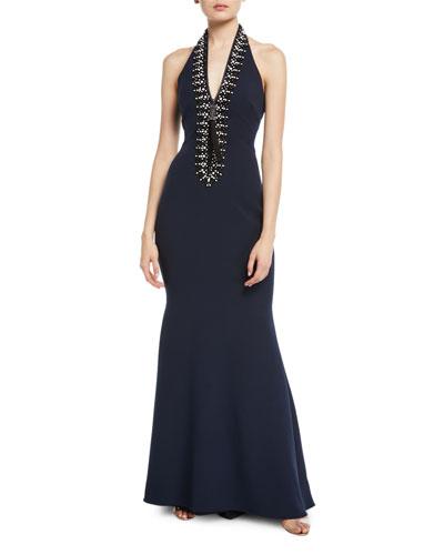 Beaded Halter-Neck Tassel Zip-Front Gown