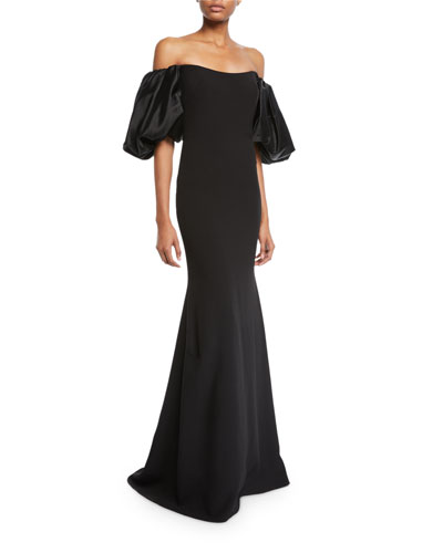 Off-the-Shoulder Balloon-Sleeve Mermaid Gown