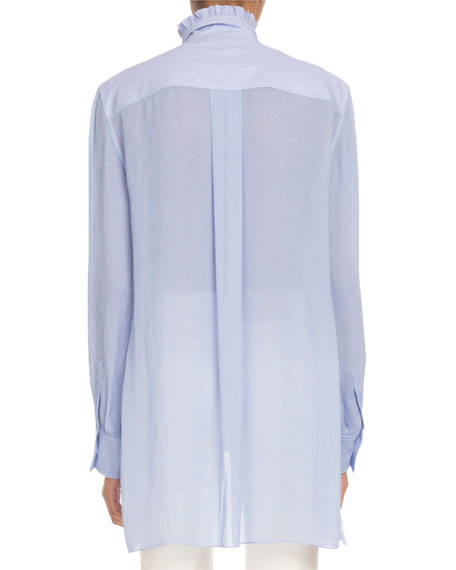 Stand-Collar Ruffled Long-Sleeve Mixed-Media Shirt